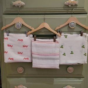 3 Aden + Anais muslin baby swaddle blankets